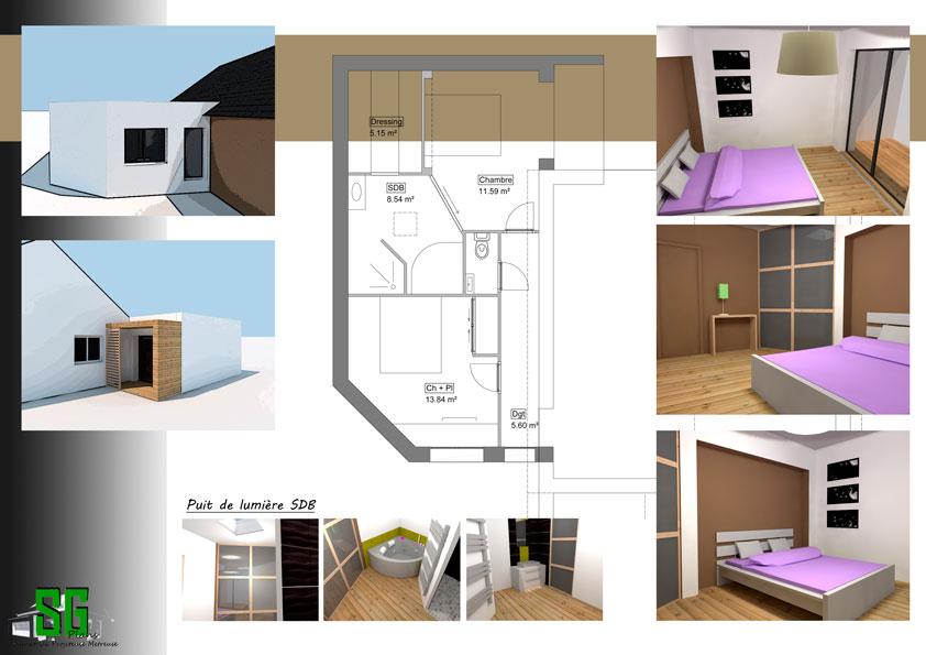 projet extension maison r cente sg plans morbihan vannes. Black Bedroom Furniture Sets. Home Design Ideas