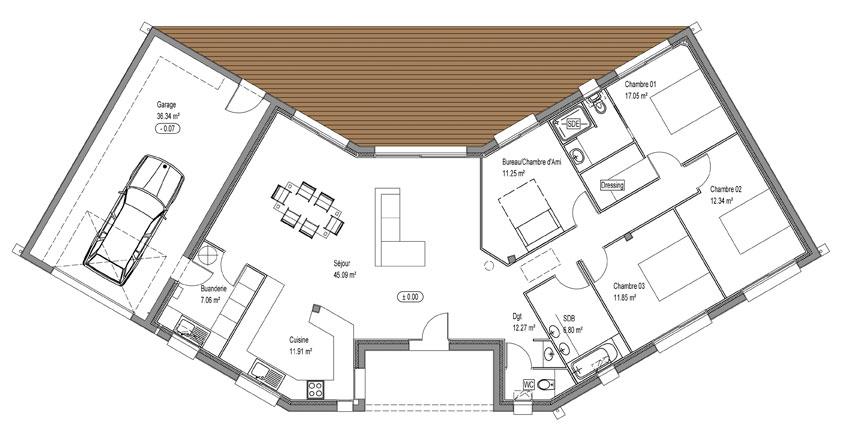 plan maison plain pied avec veranda