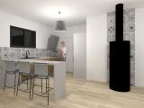 modelisation 3d cuisine - maison ossature bois - grandchamp