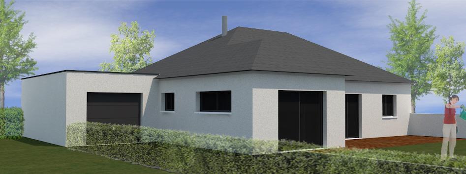 Maison ossature bois plain pied grand champ sg plans for Projet 3d maison
