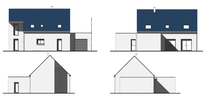 Maison individuelle plumelin sg plans - Plan des facades et des toitures ...