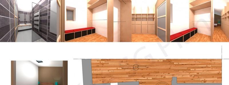 Esquisse extension, chambre, salle de bain, dressing, sg plans
