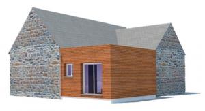 extension pour une maison à Locmalo dans le Morbihan vue 3D par SG plans