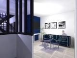 projet renovation petite maison vannes vue 3d entrée et salon