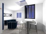 projet renovation petite maison vannes vue 3d salon et espace salle à manger