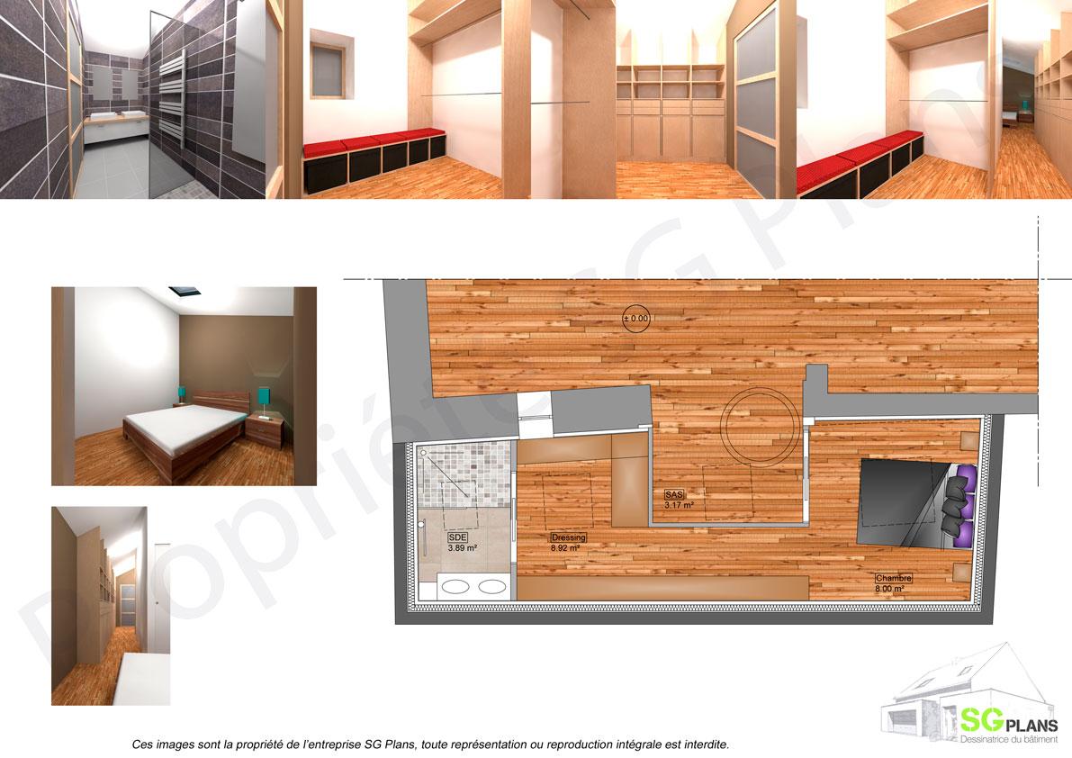 Salle De Bain Dressing esquisse extension, maitrise d'oeuvre sg plans, morbihan